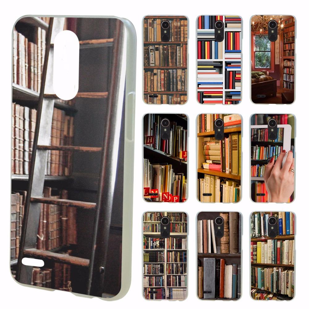 estantes de la biblioteca de libros de consulta de la vendimia diseo claro duro caso