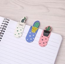 3Pcs /Set Magnetic Bookmark Fresh Cute Cactus Bookmarks Stationery School Office Supply