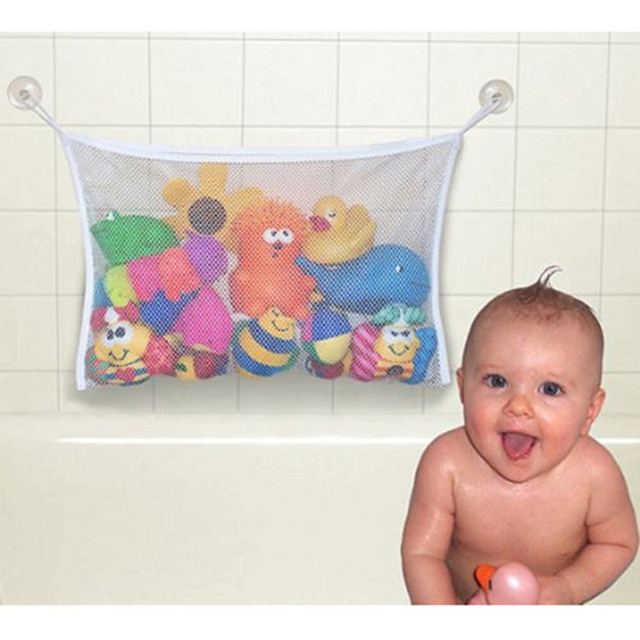 Baby Kids Bath Tub Toy Tidy Storage Suction Cup Bag Mesh Bathroom Net Storage Toys Suction Bag Folding Hanging Vacuum clothes