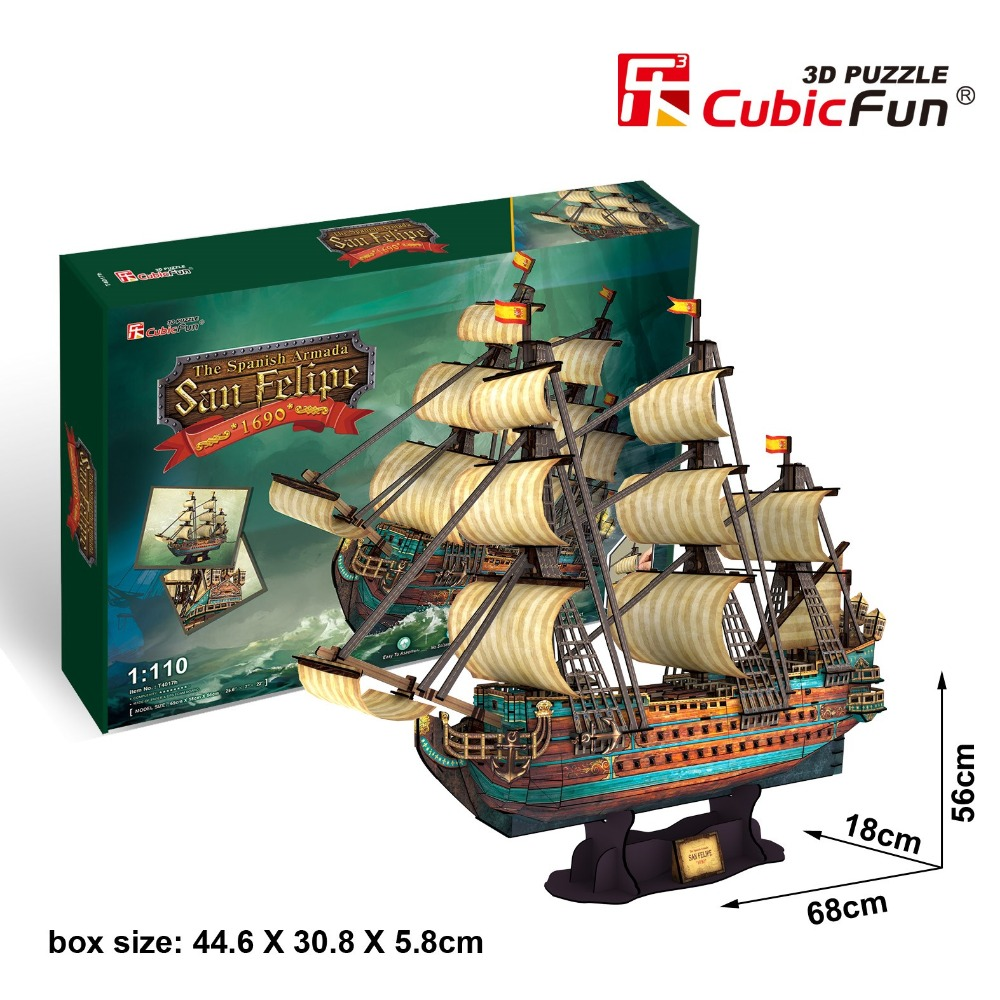 Candice guo CubicFun 3D paper Jigsaw Puzzle The Spanish Armada San Felipe 1690 assemble game archaic ship boat model baby gift colosseum cubicfun 3d educational puzzle paper