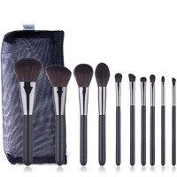 New 10 makeup brush set black round tail makeup brush For Foundation Powder Blush Eyeshadow Concealer Lip Eye Make Up tools