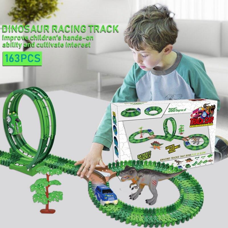 Rail Cars dinosaure montagnes russes décorer cadeau intéressant nouveauté enfants Collection Cool jouet Mini Fun dinosaure course piste