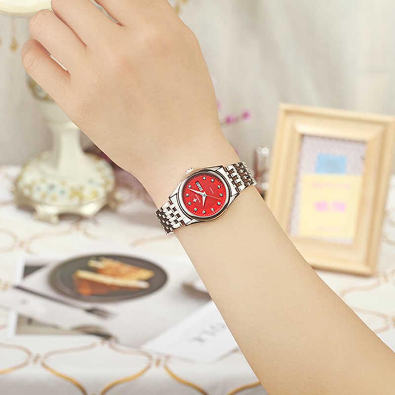 WWOOR 2017 Yeni Marka Moda Kadın saatler kuvars İzle Elbise Bayanlar Rahat spor kol saati Paslanmaz Çelik Kayış Kırmızı Kadran