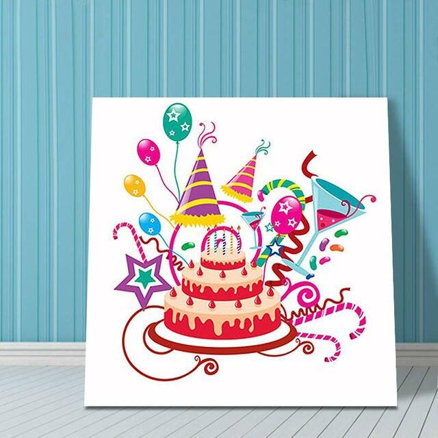 Diy Olgemalde Happy Geburtstag Kuchen Diy Digitale Malerei Digitalen