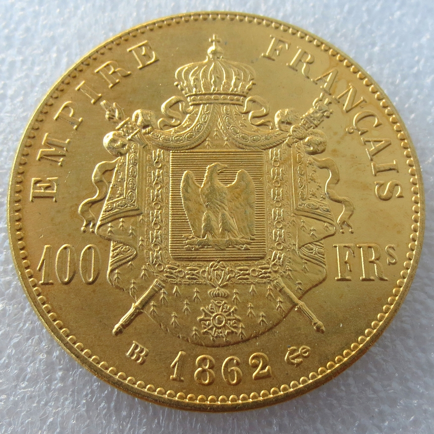 France Napoleon III - 100 Francs BB 1862 Gold Plated Copy Coins