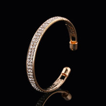 Womens Fashion Gold Crystal Rhinestone Open Bangle Manchet Armband Sieraden Gift Valentine Polsbandje Ornamenten Prachtige Armbanden(China)
