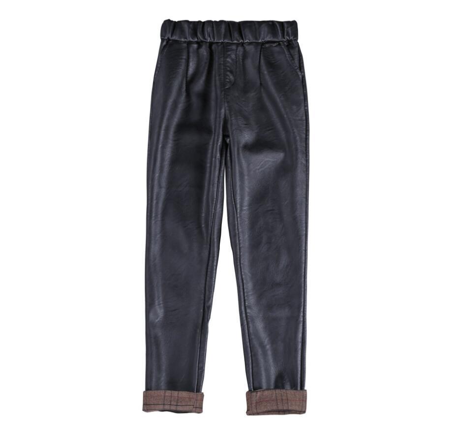 2018 auutmn Women Black PU Leather Elastic Waist Harem   Pants     Capris   Pocket Loose Casual   pants   female r541