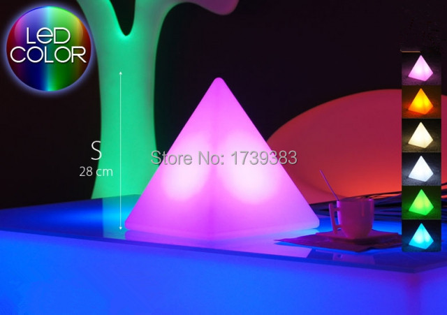 Free Shipping Remote Control Multicolor Led Light Pyramid Pyramis Triangle Sculpture Table Lamp