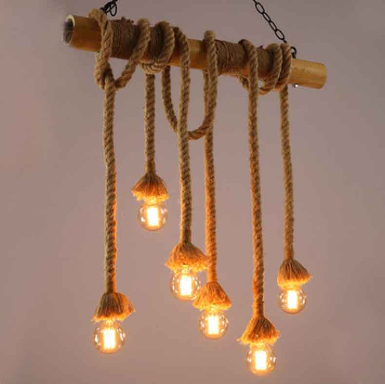 American LOFT Country Retro Industrial Hemp Rope pendant light Living Room Restaurant bar hanging lamp Fixture 110-240V