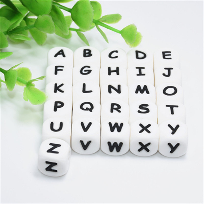 10 PCS Letter Silicone Beads 12 MM Baby Teether 12 MM Round Beads Alphabet Ball Bead For Personalized Name DIY Teething Necklace