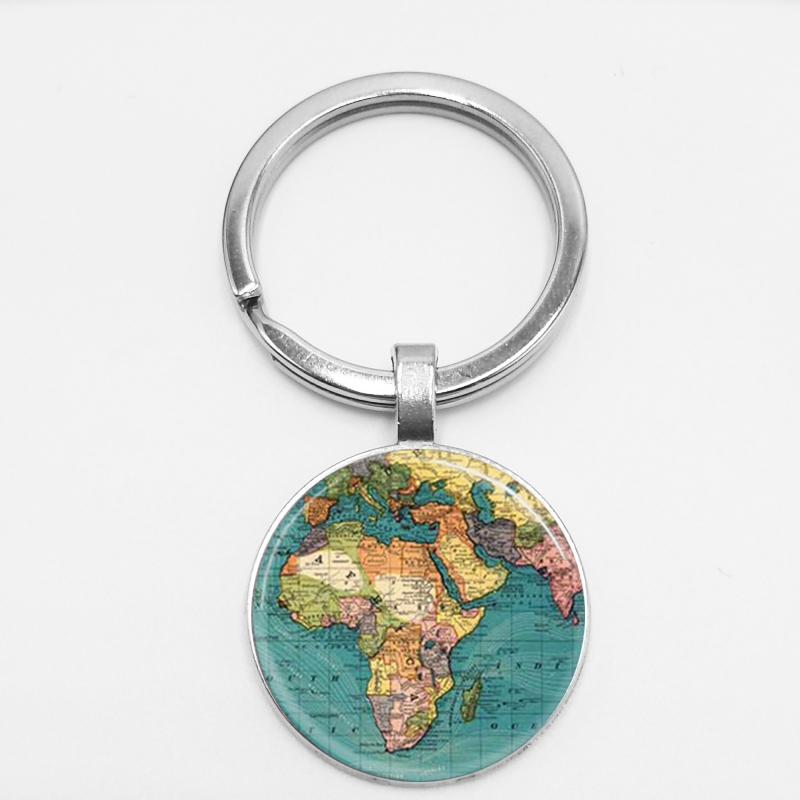 2018 Black Earth World Map Handmade Glass Cufflinks Plated Retro World Map Cabochon Cuffs Men and Women Accessories Antiques in Key Chains from Jewelry Accessories