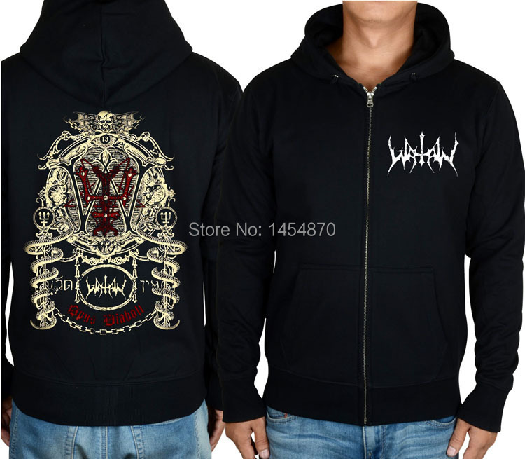 US $38.69 10% OFF|5 kinds Zipper Hoodies Watain Brand Cotton Rock shell jacket punk hardrock heavy tracksuit wolf metal sweatshirt fleece sudadera in