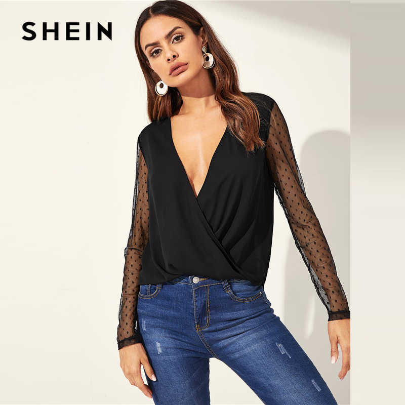 SHEIN Sexy Black Diepe V-hals Dot Contrast Mesh Mouwen Wrap Sheer Shirt Lange Mouw Blouse Vrouwen Night Out Lente top Blouses