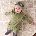 Venda quente Menino vôo membro do exército verde de algodão conjuntos de roupas e cap romper do bebê de manga comprida macacão