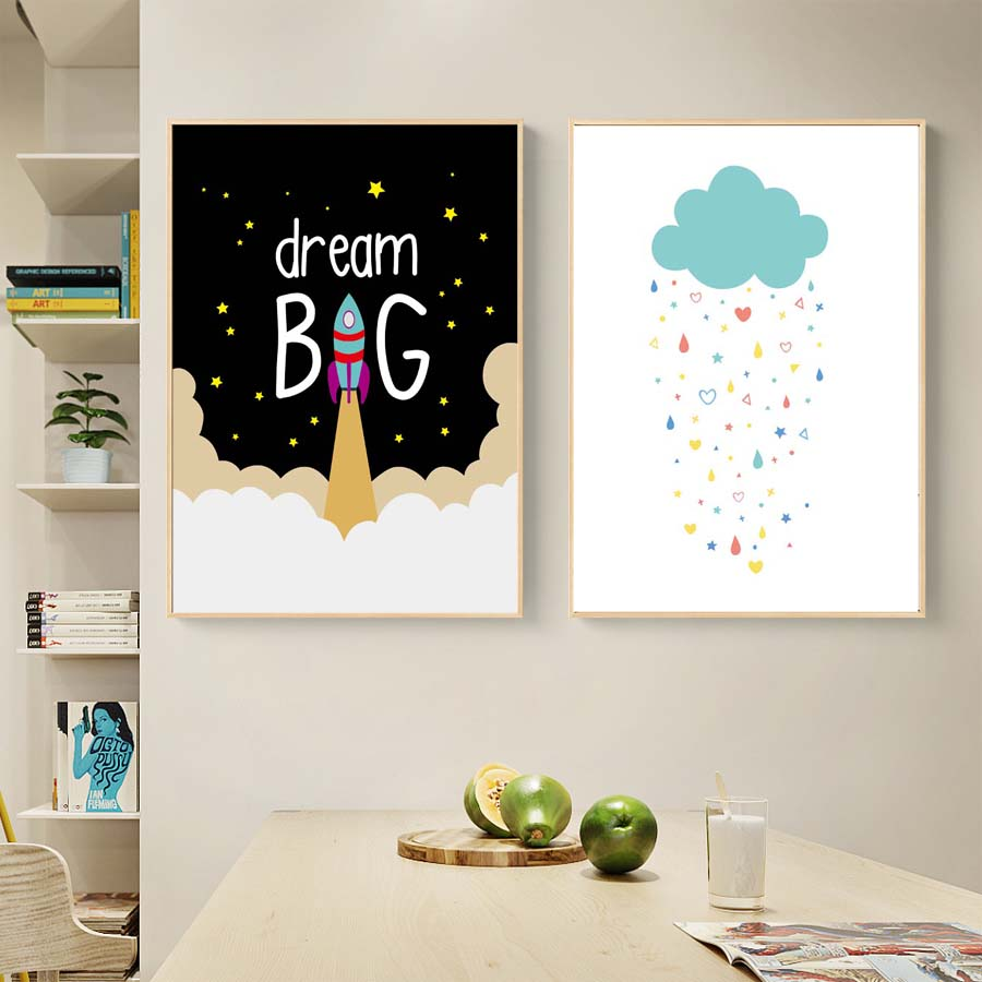 Cartoon Wall Poster Dream Big With Rocket Wall Art Prints Canvas Painting For Nursery Kids Bedroom Wall Picture Home Ornaments (2)