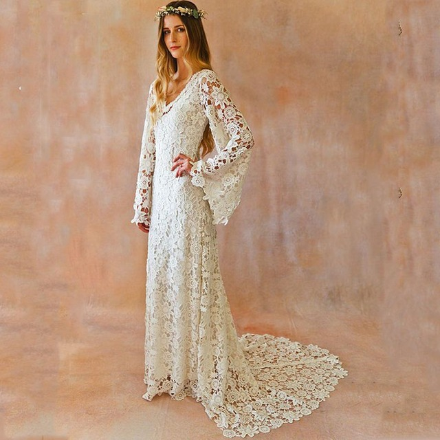 Boho Wedding Dresses Long Bell Sleeves Floor Length Lace