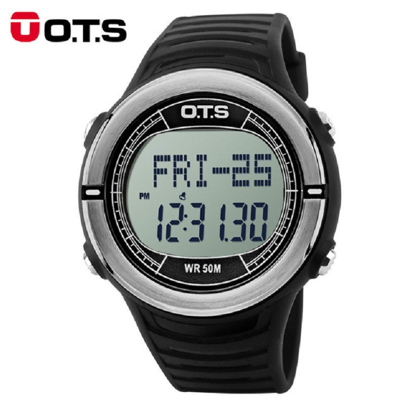 O.T.S Heart Rate Counter Calories Monitor Watches Running Waterproof Countdown Pedometer Watch Sphygmograph Men Sports Watch skmei men sports health watches 3d pedometer heart rate monitor calories counter 50m waterproof digital led mens wristwatches