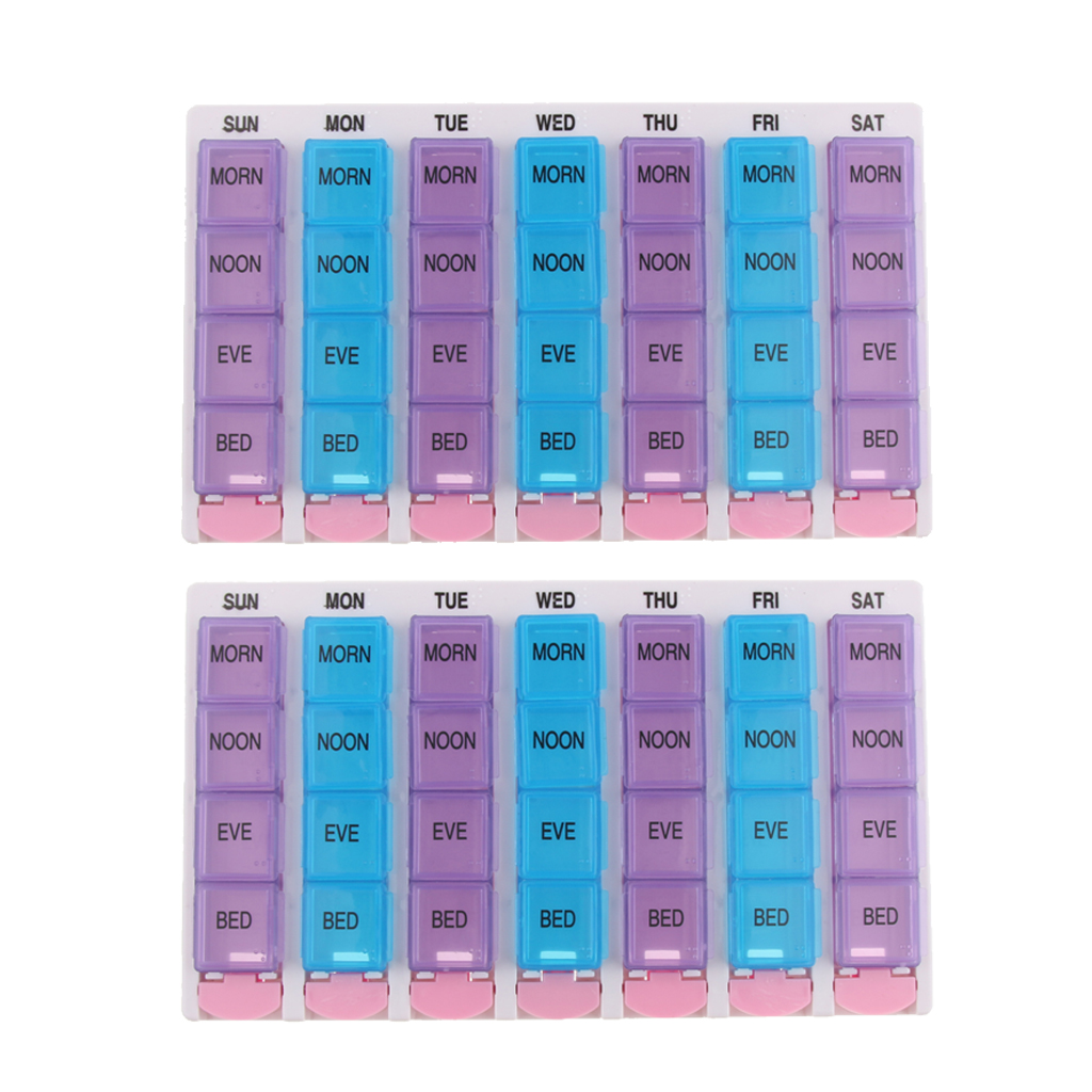 2PCS 28 Grids Tablet Pill Organizer Box, Detachable Weekly AM/PM Travel Pill Planner Reminder for Home & Travel