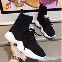 Black White Lace Up Women Ankle Boots Fashion Cotton Fabric Knitting Socks Sneakers Breathable High Top Ruwnay Outdoor Shoes 39