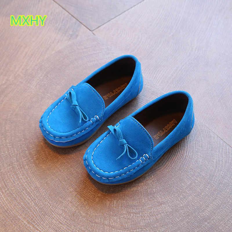 MXHY niños mocasines zapatillas niños zapatos niños niñas gamuza transpirable baby peas zapato para cuatro estaciones estudiante casual zapatos 21-36
