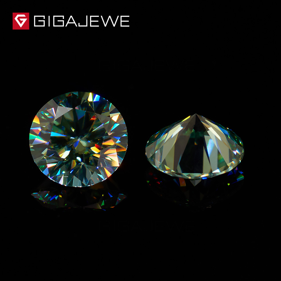 GIGAJEWE High Quality Green Color Round Brilliant Loose Moissanite Gem Stones Synthetic Bead Jewelry For Women Gift