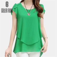 Geller Fuuk New 2017 Summer Women Blouse Loose Shirt O-Neck Chiffon Blouse Female Short Sleeve Blouse Plus Size 5XL Shirts #G305