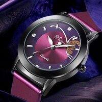 2016 New Watches Women Diamond Top Brand Luxury Fashion Elegant Wristwatch Quartz Clock Purple Flower Dress
