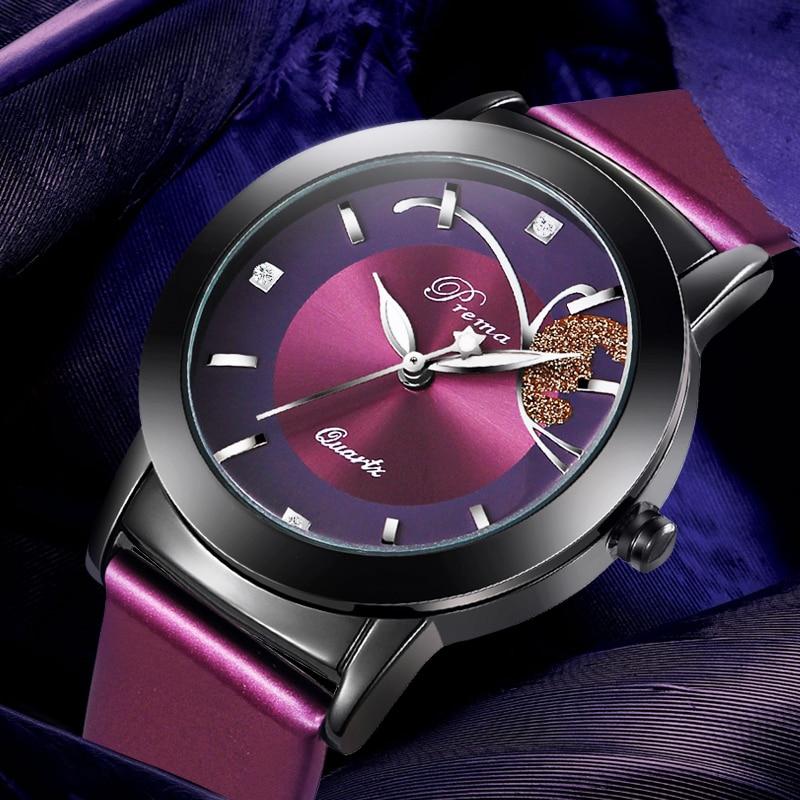 PREMA Women Watches Purple Leather Strap Quartz Clock Ladies Fashion Watch Feminino Bracelet Quartz Wrist Watch Butterfly Black