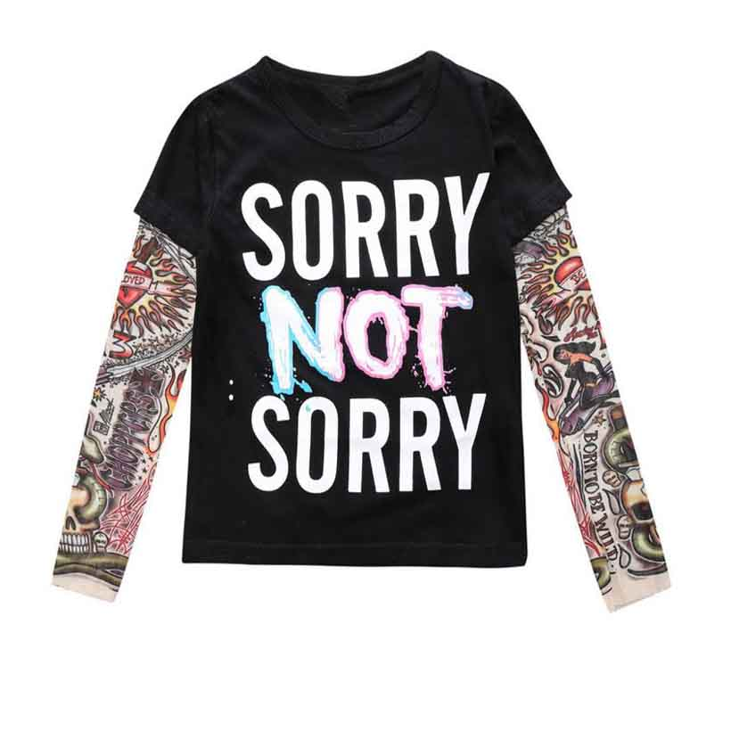 2018 Boy Clothes Cotton T-shirt Long Sleeve Children Tee Shirts Novelty Tattoo Sleeve Baby Girl Tops Spring&autumn Kids Clothing 2018 spring autumn new girls leggings t shirt baby boy girl pants t shirts ribbed children s clothing sets baby girl clothes