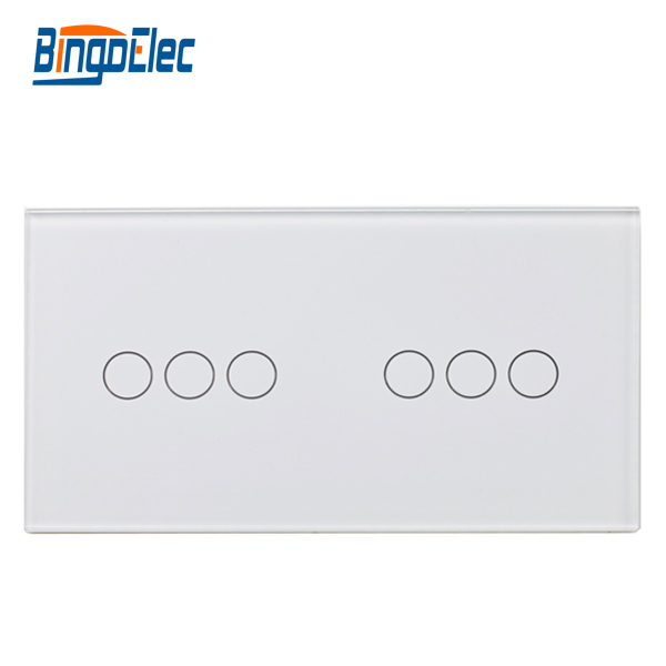 Crystal Glass three gang plus three gang switch touch Panel, to pair with touch switch function part,Hot sale