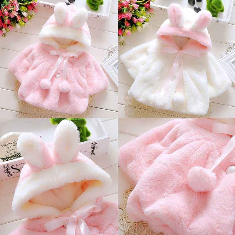 Infant Baby Girl Winter Thicken Fluffy Plush Hooded Coat Cute Rabbit Bunny Ears Lace Up Pompom Ball Jacket Pleated Faux Pearl