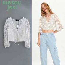 2019 fashion women mujer de moda england style chiffon embroidery transparency shirt kimono blouse womens tops and blouses