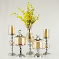 Cam Metal Tealight Mumluklar Temizle Şeker Kavanoz Vazo Kandil Düğün centerpieces şamdan Tutucu