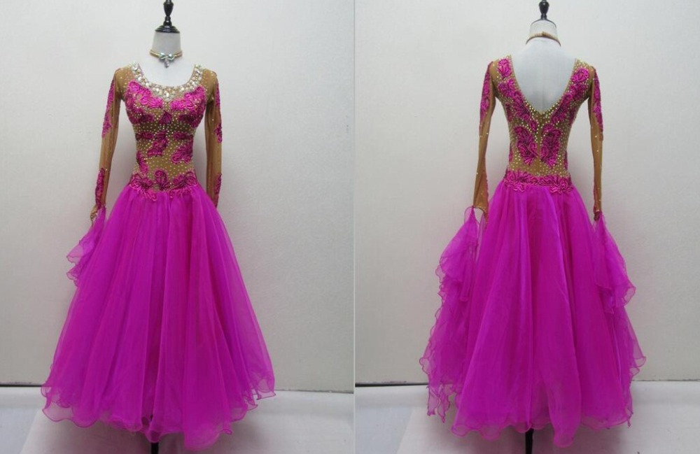 Ballroom dance costumes sexy senior beads pink  ballroom dress for women competition dresses