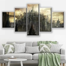 5 Piece HD Pictures Dark Souls 3 Game Poster Paintings Fantasy Art Castle Scene Landscape Wall for Home Decor