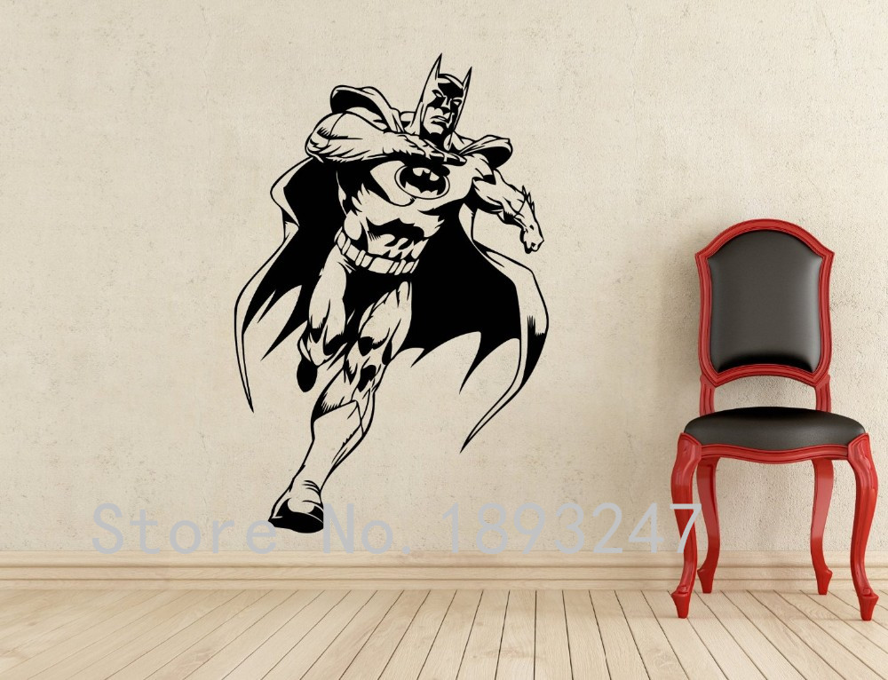 Comics Art Batman Wall Decal Superhero Wall Sticker Home Decoration Any  Room Waterproof Removable Vinyl Wall Sticker Home Decal In Wall Stickers  From Home ...