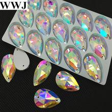 Стеклянные каплевидные пришивные камни всех размеров с 2 отверстиями