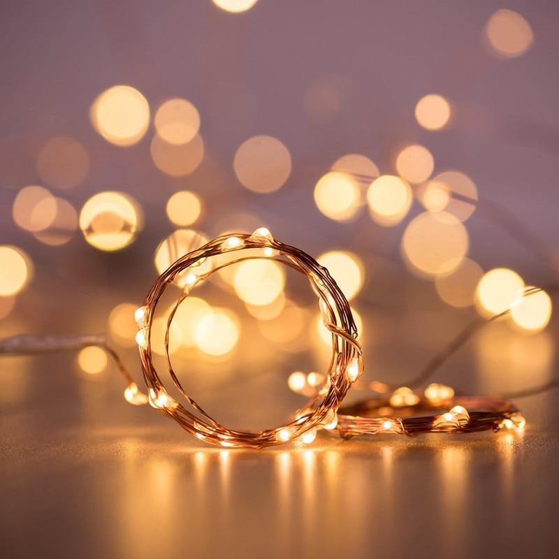 LED lichterketten ball 10M 5M 2M Silber Draht Garland Home Weihnachten Hochzeit Party Dekoration Angetrieben durch batterie Fee licht
