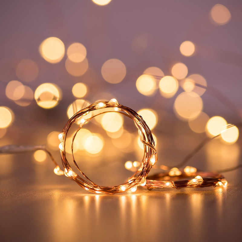 LED String lights ball 10M 5M 2M Silver Wire Garland Home Christmas Wedding Party Decoration Powered by  Battery  Fairy light