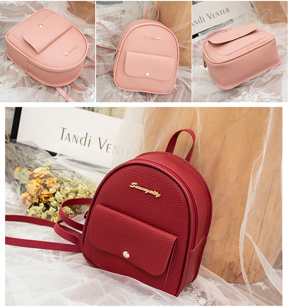 HTB19O.IXv1H3KVjSZFHq6zKppXab 2019 Mini Backpack Women Korean Style PU Leather Shoulder Bag For Teenage Girls Multi-Function Small Bagpack Female Phone Pouch