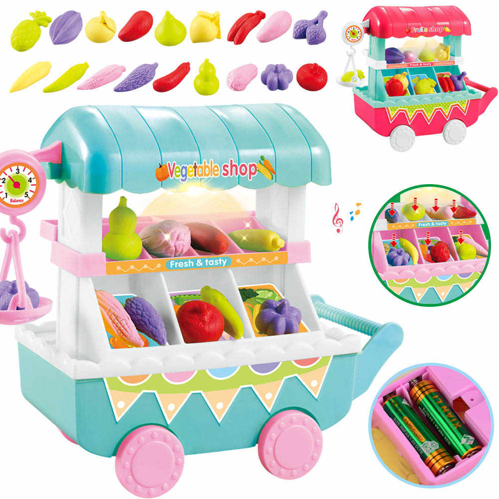 New Simulation Small Carts Girl Mini Vegetables Fruits Shop Supermarket Children 's Toys Playing Home Baby Toys