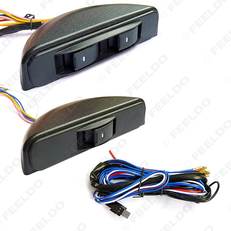 1Set New Universal Crescent Power Window 3pcs switches with Holder wire Harness FD 3436
