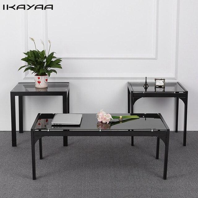 Schon IKayaa UNS FR Lager Moderne Metallrahmen Couchtisch Mit 2 Ende  Beistelltisch Wohnzimmer Cocktail Tisch Set