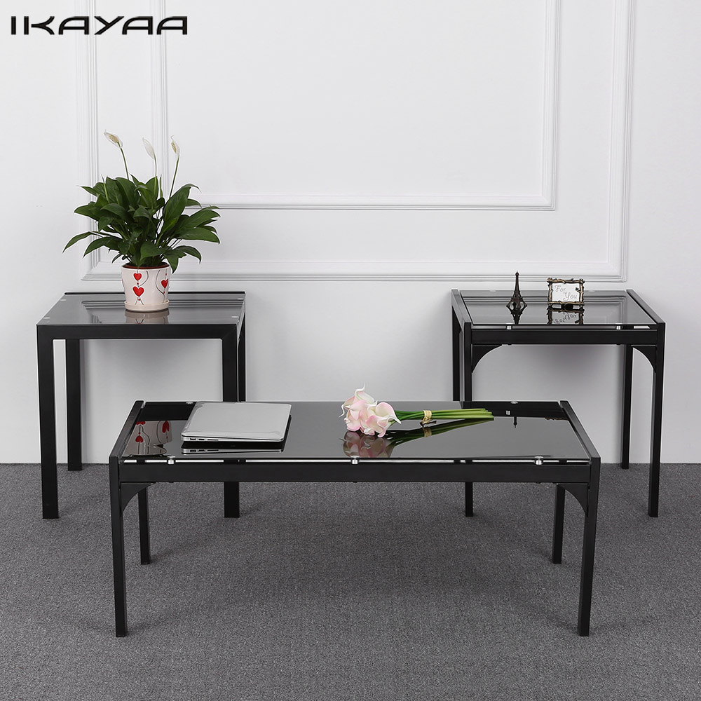 Coffee Side Tables Living Room Furniture: IKayaa US FR Stock Modern Metal Frame Coffee Table With 2