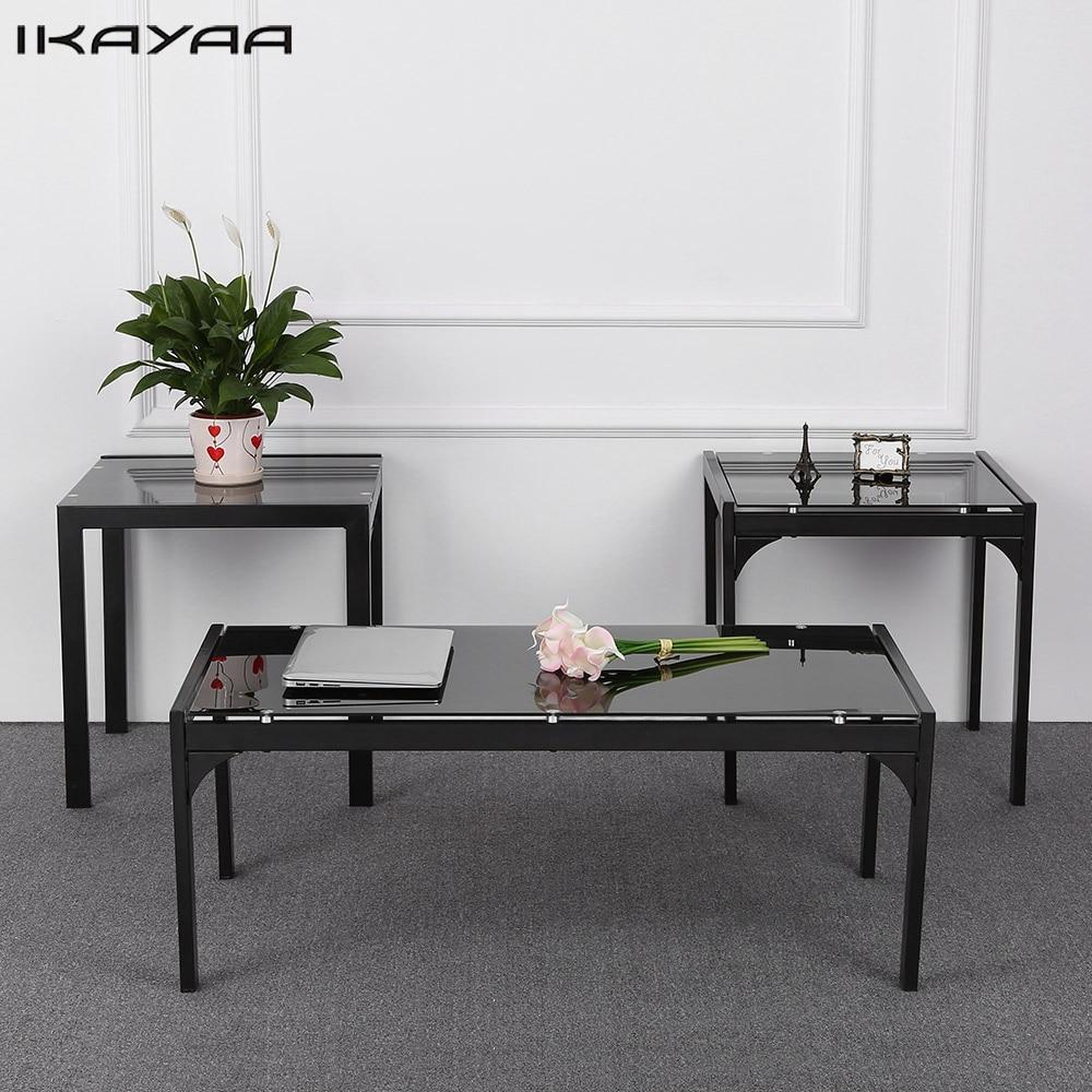 iKayaa US FR Stock Modern Metal Frame Coffee Table with 2