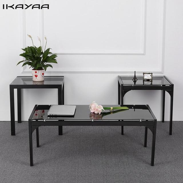 Ikayaa Us Fr Stock Modern Metal Frame Coffee Table With 2 End Side Living Room