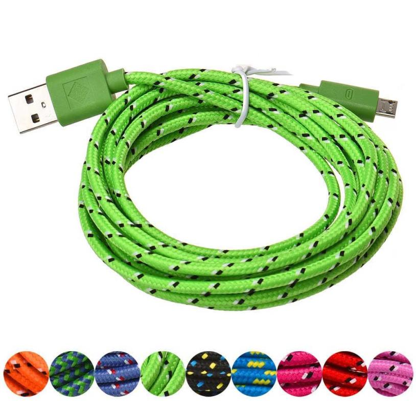 new3M/10FT Micro USB Charger Sync Data Cable Cord for Cell Phone Lightgreen prolunga usb usb extension cable cable mini usb max length retractable 2m 7ft usb 2 0 a male to mini usb b 5pin male curl coiled spring data sync charge cable cord