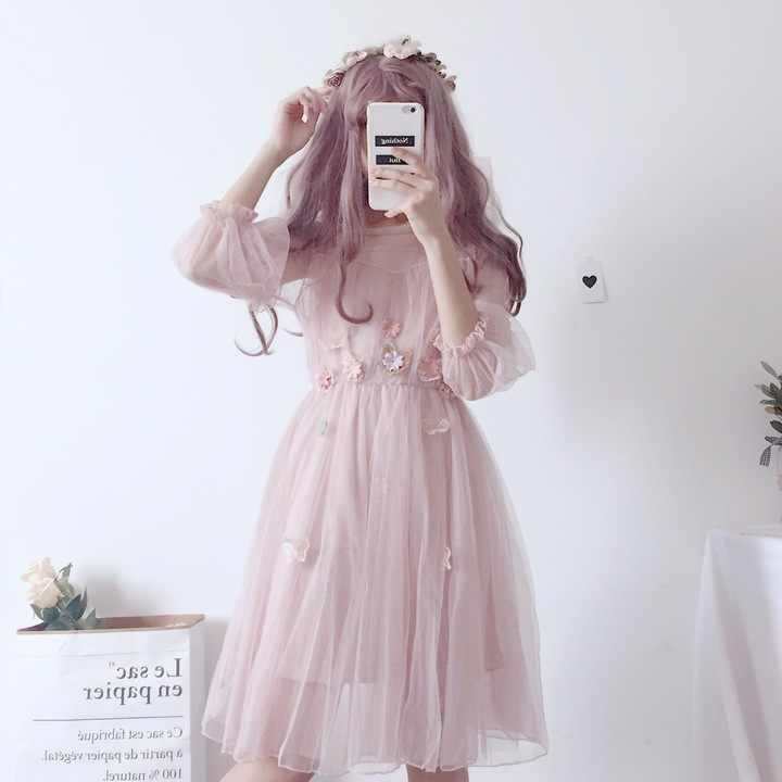 95dc1d7a2ad3b Japan Style Korea Style Loose Women Summer Dress Mesh Lace Sweet Dress  Female Girls Kawaii Party Dress 2019 Puff Sleeve Dresses