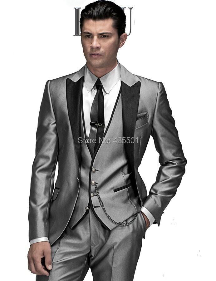 Men Wedding/Prom Suits Bridegroom Jacket+Pant+vest+tie Tuxedo silver Suit peaked Lapel Suits For Men Best man Groomsman