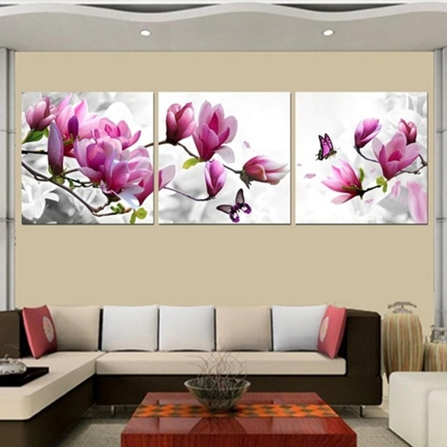 Buy 3 Piece Cheap Abstract Modern Wall Painting Golden Flower Home Decorative